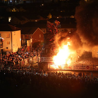 Soldier F banners dominate Bogside August 15 bonfire