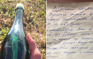 Man finds 50-year-old message in bottle sent from Russian Navy