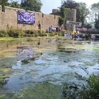 Moat race and river football match highlight Bank Holiday traditions