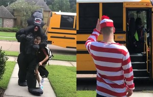 Teenager wears different costume each day to greet little brother off school bus