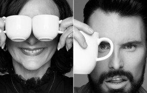 Shirley Ballas, Kathy Burke and Rylan Clark-Neal pose with a coffee