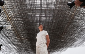 Sir Antony Gormley poses with artwork ahead of Royal Academy show
