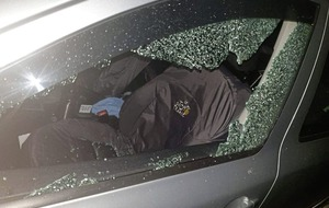 Brick smashes window of passing car in west Belfast