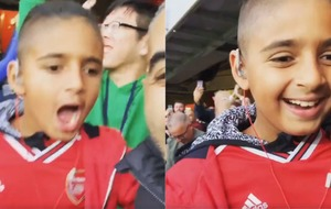Blind nine-year-old fan reacts to Aubameyang's winning goal
