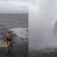 Man goes swimming off Galway as Storm Lorenzo batters Irish coast