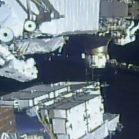 Astronauts take spacewalk to replace old batteries