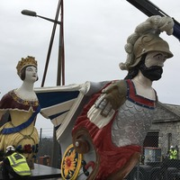 Giant warship figureheads restored following years of decay