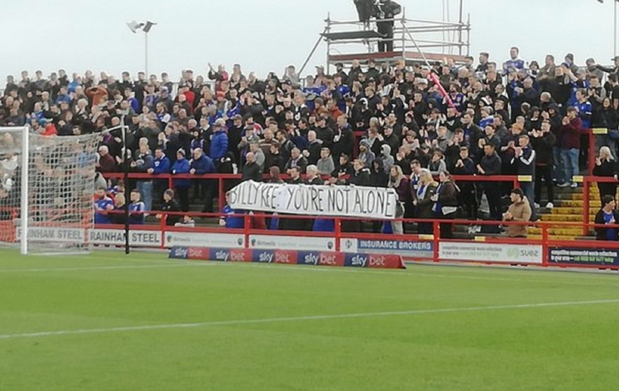 Accrington salute Ipswich fans for Billy Kee solidarity banner