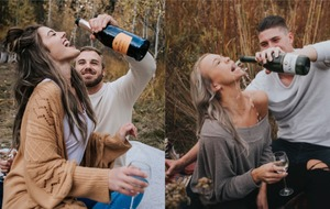 Attempt at 'romantic' engagement shoot goes viral after bride covered in champagne