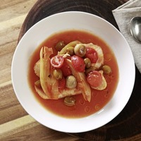 James Street Cookery School: Tomato and fish broth, Prawns and cod with fennel