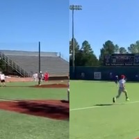 Student causes laughs by running off baseball field dressed as Forrest Gump