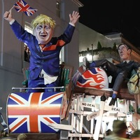 Brexit rollercoaster paraded through streets for Bonfire Night