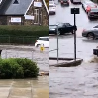 Older woman drives mobility scooter through severe floods in Sheffield