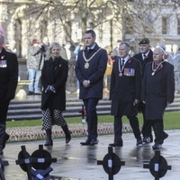 Sinn Fein mayor John Finucane joins with the British Legion to pay tribute to war dead