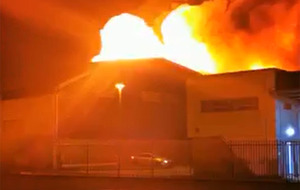 Video: Firefighters tackle blaze at north Belfast industrial estate
