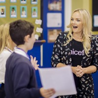 Emma Bunton makes plea to parents during school trip on World Children's Day