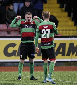 Cliftonville boss Paddy McLaughlin laments absence of Jamie Harney in defeat to Glentoran