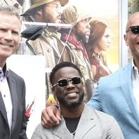 The Rock and Will Ferrell support Kevin Hart at Hollywood handprint ceremony