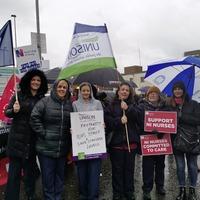 Newry: Tears amid torrential rain on Daisy Hill picket line