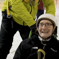 Care home resident tries skiing – a couple of months before his 93rd birthday