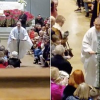 Dublin priest glides out of Christmas Eve mass on a scooter