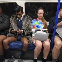 London commuters strip down to their pants for No Trousers Tube Ride