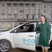 New infrastructure minister Nichola Mallon arrives at Stormont in electric car