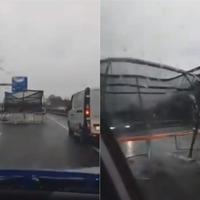 Watch: Drivers dodge trampoline that was blown on to busy motorway