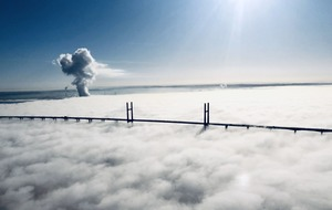 Aerial images show Severn crossing shrouded in 'surreal' fog