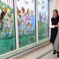 Camilla praises 'brilliant' Roald Dahl-inspired windows at children's hospital