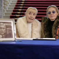 Hollywood star Sharon Stone signs book of condolence to Seamus Mallon in Belfast