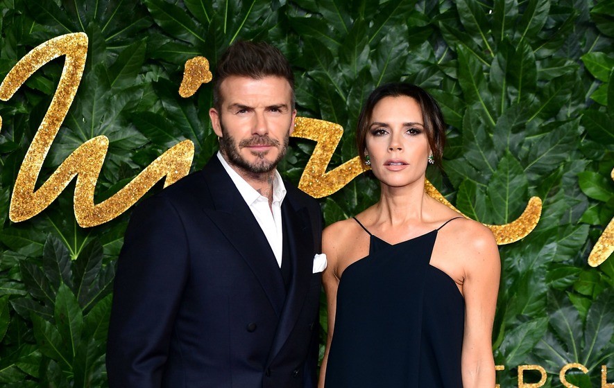 David Beckham and Kids Cheer Victoria Beckham on at Fashion Show