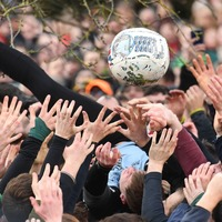 Hundreds gather in Derbyshire for Shrovetide football match