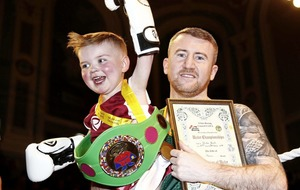 West Belfast toddler Dáithí Mac Gabhann takes to the ring with boxer Paddy Barnes