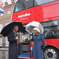 Charles and Camilla take a bus ride to London's Transport Museum