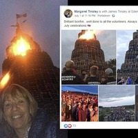 DUP councillor urged to join wife's apology over photo with tricolour on bonfire