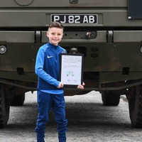 Army truck pays surprise visit to nine-year-old aspiring soldier