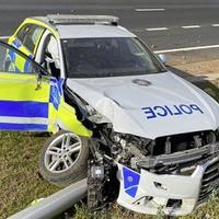 Teenager arrested after police car rammed