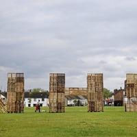 Portadown bonfire builders' huge wooden pallet tribute to NHS
