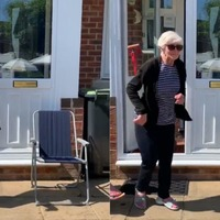 92-year-old woman dances outside front door in celebration of VE Day