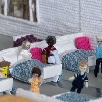 Great-great-grandmother knits model hospital to raise funds for NHS
