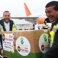 Calum Best and Tamer Hassan take delivery of PPE airdrop for front line staff