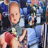 Football fans see dream for baby fulfilled with cut-out in stands