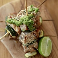James Street Cookery School: Sesame salmon and Thai green curry chicken skewers