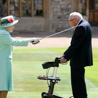 Captain Sir Tom Moore knighted by the Queen
