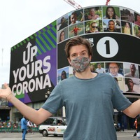 'Up yours corona' message played at Piccadilly Circus