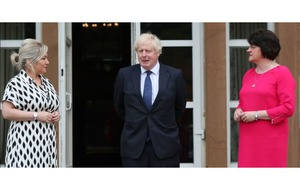 Boris Johnson meeting Arlene Foster and Michelle O'Neill at Hillsborough Castle