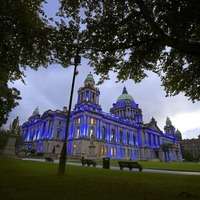 Belfast City Hall lit up in blue to mark nine weeks since disappearance and death of schoolboy Noah Donohoe