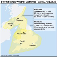 Storm Francis due to hit Northern Ireland with heavy rain expected
