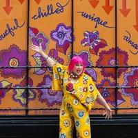 Zandra Rhodes unveils colourful art installations in central London